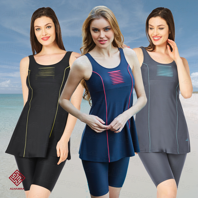 ada5970826 AlHamra AL3056 Semi Cover Capri Modest Burkini Swimwear Sportwear ...